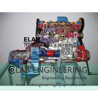 4 stroke 4 cylinder Diesel Actual Engine (hand driven)